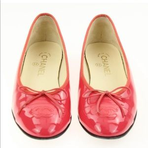 Chanel coral pink ballet flats.